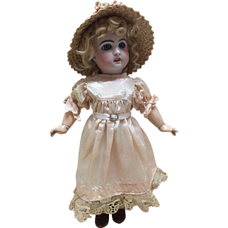 Stunning Pink Dress and Straw Bonnet for Jumeau or other Bisque Doll