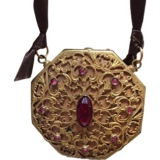 Wonderful Ormolu Hanging Compact Purse for Antique Bisque Doll