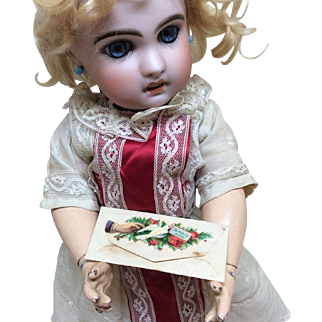Tiny Antique Victorian Calling Card in Envelope for Bisque Doll Display