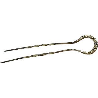 Small Antique Victorian Engraved Gold Hairpin for Bisque Doll