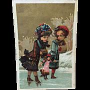 Victorian Little Girls & Doll Advertisement Card Bisque Doll Display