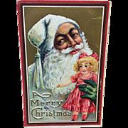 Antique Victorian Santa and Bisque Doll Postcard