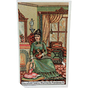 Antique Victorian Ad with Little Girl & Bisque Doll