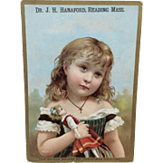 Antique Victorian Girl with Bisque Doll Card
