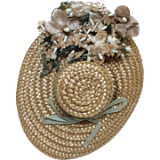 Lovely Antique Hat with Flowers for French or German Bisque Doll