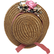 Antique Hat with Flowers for Antique French Or German Bisque Doll