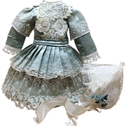 Luscious Aqua Silk 3 Pc Couture Outfit for Jumeau or other French German Bisque Doll