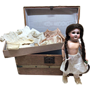 Antique Bisque Dep 27 cm Bleuette Size French Market Doll With Trousseau