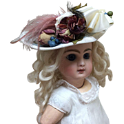 Beautiful Vintage Silk Covered Hat for your Smaller Bebe Bisque Doll