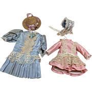 """Two Small French Style Dresses & Hats for 9"""" to 12"""" Bisque Dolls"""