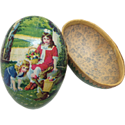 Antique Decorated German Cardboard Egg for Bisque Doll Display