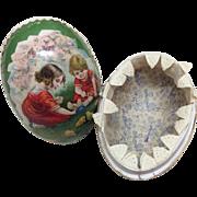 Antique German Cardboard Easter Egg for Bisque Doll Display