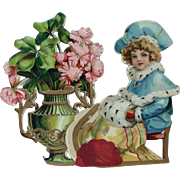 Beautiful Victorian Die Cut for French or German Bisque doll display