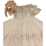 Wonderful Whitework Dress & Floral Headpiece for Antique French Bisque Doll