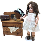 Small Antique Wooden Dresser for French or German Bisque Doll Display