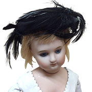Antique French Fashion Doll Headpiece Hat Feathered