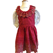 Beautiful Old Embroidery Pinafore Apron for Large French Bisque Doll Jumeau Steiner Eden Bebe