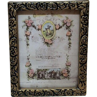 Beautiful Vintage Miniature Certificate of Baptism for Doll House or Small Bisque Dolls