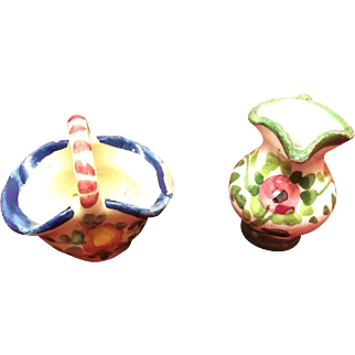 Two Miniature Handmade Pottery Pieces Italy for Doll House