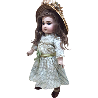 "Beautiful 14"" Antique Tete Jumeau Sz 5 French Bisque Doll"