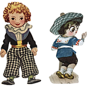Two French Boy Vintage paper Doll Die Cuts Doll Display