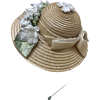 Beautiful Straw Hat for Medium French or German Bisque doll