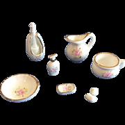 Miniature Porcelain Vintage Bath Set Doll House or Small Bisque Display