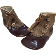 Leather Two Tone Boots with Tassels for French or German Bisque Doll