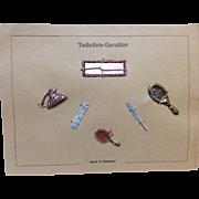 German Miniature Doll House Accessories on Original Presentation Card