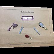 German miniature Doll House Items on original presentation card