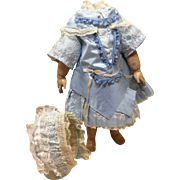 """""""Shades of Blue"""" Couture Seamstress Made Dress & Bonnet French or German Bisque doll"""