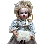Antique French Fur Muff with Tails Jumeau Steiner Bisque Doll