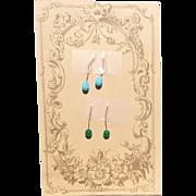 2 Pr Antique Glass Earrings for Jumeau Steiner FG Eden Bebe Bisque Dolls