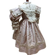 Vintage Pale Pink Dress for French or German Bisque Doll