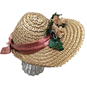 Beautiful Woven Straw Hat W/Peach Flowers and Ribbon French or German Bisque Doll