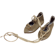 Hand Made Small Leather shoes for French or German Bisque Dolls