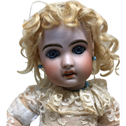 Authentic Jumeau Hand Tied Curly Wig Sz 5 Antique French Bisque doll