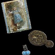 Antique Ormolu Trim Box W/Accessories French Fashion or Jumeau Bebe