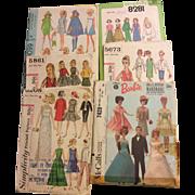 """Lot of 6 Skipper & Barbie Vintage Sewing patterns McCalls & Vogue 9-12 1/2"""" Dolls"""