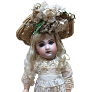 Antique French Woven Hat w/Flowers for Jumeau Steiner FG Eden Bebe Doll