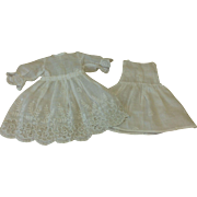 Small dress and underdress for Antique French or German Bisque Doll