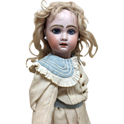 """Stunning Pale Eyed Jumeau in Antique Mariner Dress 19"""" French Bisque Doll"""
