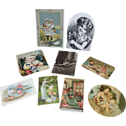 Lot of 9 Victorian Post cards, ads, cutouts for Antique Bisque Doll Display