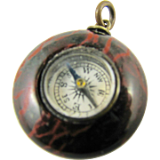 Victorian English Compass Red Jasper Hardstone Round Watch Fob Charm Antique Pendant Stone