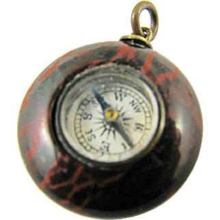 Victorian English Compass Red Jasper Hardstone Round Watch Fob Charm Antique Pendant Stone