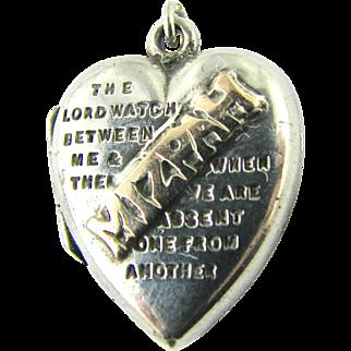 Antique MIZPAH Puffy Heart Locket Charm Edwardian Sterling Silver & Gold - Sentimental Hallmarked Birmingham 1906