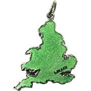 Hard to find TLM green London England Map TLM Thomas Mott Vintage Enamel English Sterling Silver Charm for Bracelet