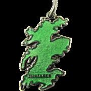 Hard to find TLM green Edinburgh Scotland Map TLM Thomas Mott Vintage Enamel English Sterling Silver Charm for Bracelet