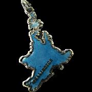 Rare TLM Blue Wellington New Zealand Map Thomas Mott Vintage Enamel English Sterling Silver Charm for Bracelet North Island