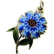 RARE Antique French 800 Silver Enamel Charm Flower depicting 'Amitie' Friendship Sentimental Love Token for Bracelet or Pendant from Victorian Era